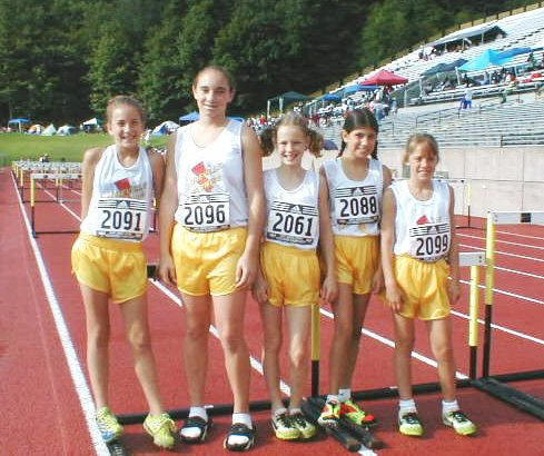 Midget Division Girl Hurdles: Left to right, Courtney, Corey, Rebecca, Sophia and Lillian